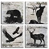 Rustic Animals Office Decor Wildlife Wall Art Canvas Print Eagle Elk Bear Black and White Silhouette Painting Picture Artwork for Living Room Bedroom Home Decoration Ready to Hang 16x16 Inch 4 Panels