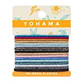 YOHAMA 18 Counts Multicolored Glitter Dazzling Non-metal Elastic Hair Ties Good for Teen Girls Holiday Gifts, Take in Party, Friends Meeting, Performance.