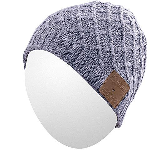 Qshell Winter Waschbar Bluetooth Musik Beanie Warme Weiche Gestrickte Trendy Short Striped Hat Cap w/Drahtlose Kopfhörer Headset Kopfhörer Mic Hände Frei für Sport Fitness Laufen Skifahren - Grau