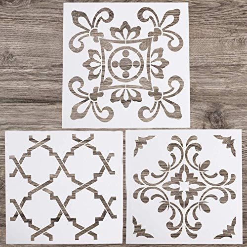 FADACAI 3 Stück Mandala Schablonen Set DIY Bastelschablonen Wandmalerei, Scrapbooking, Prägung, Stempeln, Album, Handarbeit