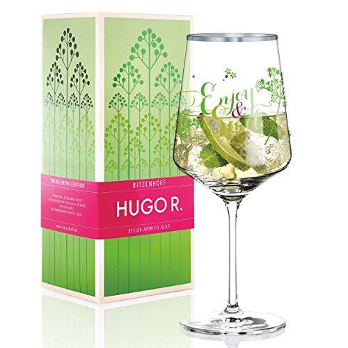 RITZENHOFF Hugo R. Hugo-Glas, Aperitif-Glas von Kathrin Stockebrand, aus Kristallglas, 600 ml, mit edlen Platinanteilen