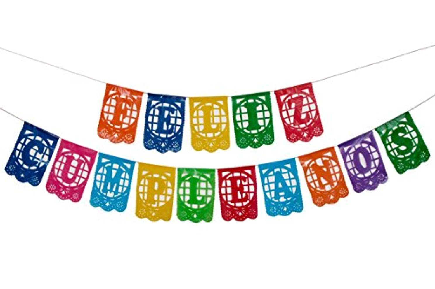 Paper Full of Wishes Small Plastic Banner - Feliz Cumplea?os Mexican Papel Picado Letrero