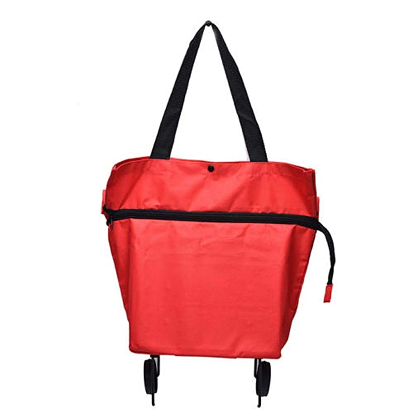 NAOAO Collapsible Trolley Bags with Wheels Folding Shopping Bag Shopping Trolley Bag Reusable Grocery Tote Bag for Men Women Children, Red