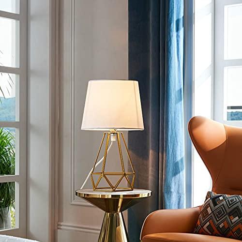 OuXean Lámpara de mesa E14 Lámpara de escritorio moderna con base de metal ahuecada y pantalla de tela para la sala de estar del dormitorio (sin bombilla)