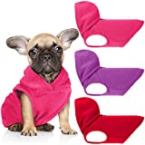 3 Pieces Dog Fleece Hoodie Puppy Fleece Pullover Dog Fleece Vest Sweatshirt Dog Apparel Winter Dog Clothes with Leash Ring for Small Medium Dogs (M, Red, Purple, Rose Red)