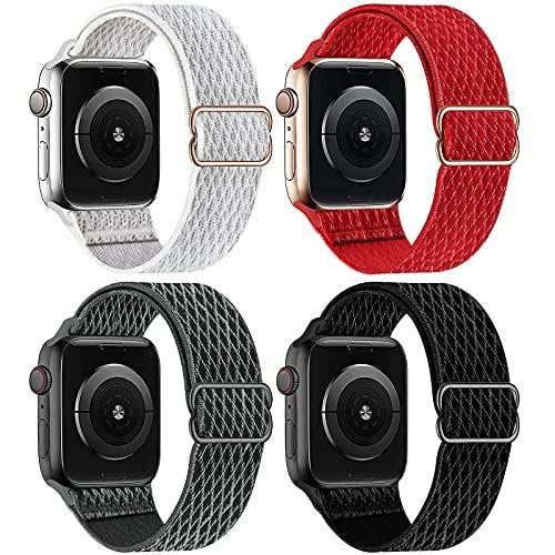 Mantimes Paquete de 4 bandas elásticas trenzadas para reloj Apple de 38 mm, 40 mm, 42 mm, 44 mm, compatible con IWatch Series 6/5/4/3/2/1 SE (negro/blanco/rojo/gris, 42 mm/44 mm)