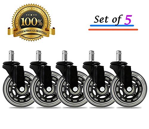 Universal Office Chair Caster Wheels Set of 5 Heavy Duty & Safe for All Floors Including Hardwood 3