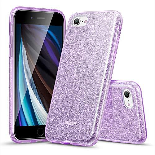 ESR Capa brilhante compatível com iPhone SE 2020, iPhone 8/7, com três camadas, compatível com carregamento sem fio, para iPhone SE 2 (2020) / iPhone 8/7, roxo brilhante