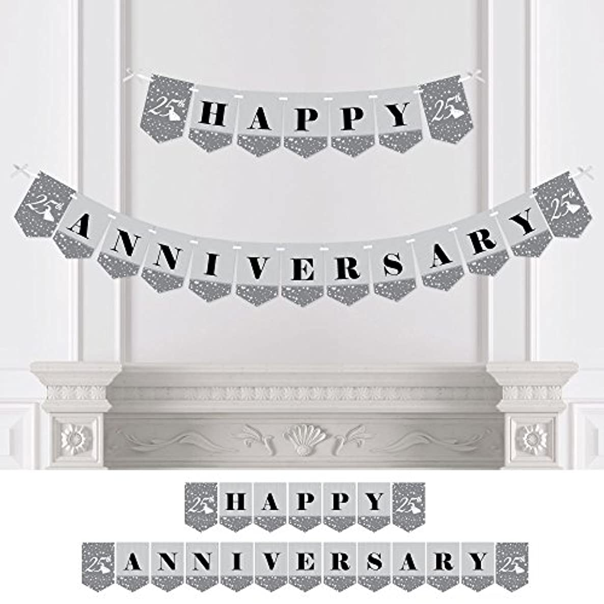 Big Dot of Happiness 25th Anniversary - Party Bunting Banner - Silver Party Decorations - Happy Anniversary