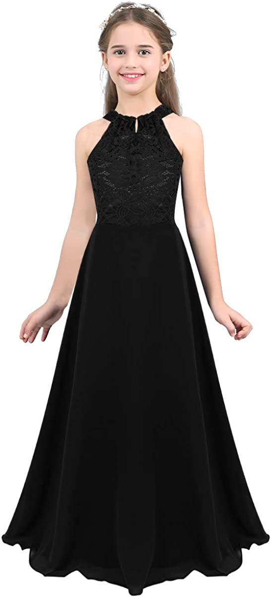 inlzdz Flower Girl Floral Lace Halter Turtleneck Cutout Back Chiffon Dress Kids Bridesmaid Formal Party Evening Gown
