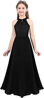Yeahdor Kids Flower Girl Bridesmaid Lace Maxi Dress Wedding Pageant Birthday Party Halter Neck A-Line Dresses
