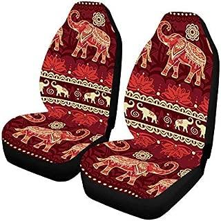 InterestPrint Ethnic Elephants Auto Seat Covers Full Set of 2, Vehicle Seat Protector Fit Car, Truck, SUV£¬Van