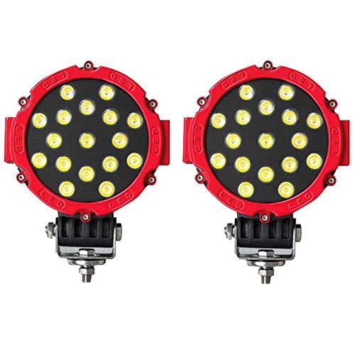 LED Scheinwerfer Rund, EKLAMP 51W LED Arbeitsscheinwerfer,24V Offroad Scheinwerfer 6500K Wasserdichte IP67 für Geländewagen(2 Stück)