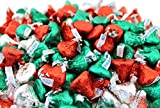 LaetaFood HERSHEY'S KISSES Christmas Candy Holiday Mix, Milk Chocolate Red Silver Green Foils Wrap (2 Pounds Bag)