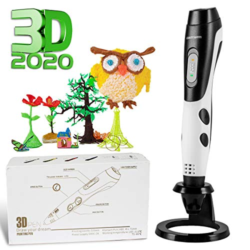 GIANTARM Penna 3D Stampa + 12 Colori Set filamento PLA, Temperatura Regolabile/velocità, ugello sostituibile, Penna Stampa 3D Regalo Creativo Fai da Te, Compatibile con 1.75mm ABS/PLA