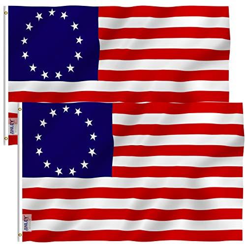 ANLEY Fly Breeze Bandeira de Betsy Ross de 3x5 pés - Cor vívida e resistente ao desbotamento UV - Cabeçalho de lona e costura dupla - Bandeiras dos Estados Unidos Poliéster com ilhós