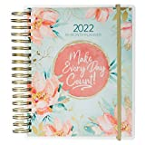 Inspirational 18 Month Planner 2022 Make Every Day Count! Peach/Teal Floral Personal Organizer Daily Weekly Agenda Planner for Women, Elastic Closure Aug 2021-Jan 2023