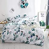 Floral Cotton Comforter Queen, 100% Cotton Reversible Aqua Botanical Flowers Leaf Printed Bedding Quilted Comforter Insert with 2 Pillowcases, 3 Pieces Inner Fill Duvet Queen Size
