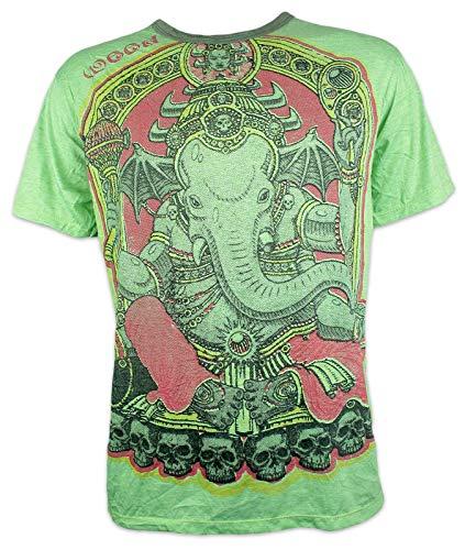 Weed Herren T-Shirt - Vinayaka Der Elefanten Gott Ganesha Yoga Aum Yoga Buddha Yogi Zen Buddhismus Hindu Indien Ärmelfrei Männer Freizeit Kurzarm (Limette XL)