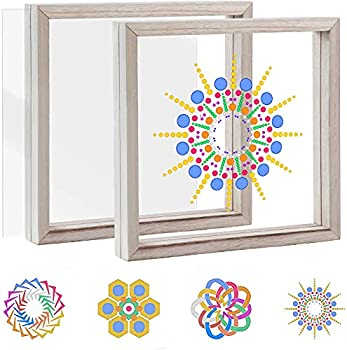 Pajaver Stained Glass Painting Window Art DIY Kit for Kids,Craft Suncatcher Kit with Wooden Frame & Acrylic Drawing Board Creative Hobbies for Adult & Kids Glass Painting Kit Home Office Cafe Decor