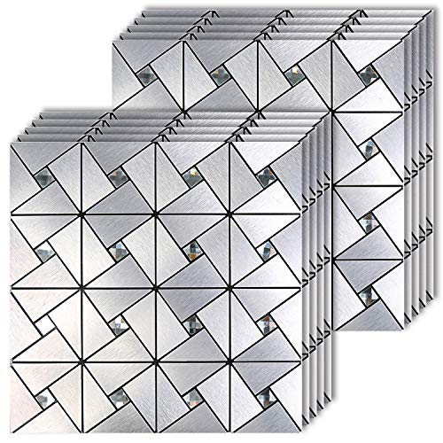 HomeyMosaic 10-Sheet Peel and Stick Tile Backsplash Stick on Kitchen Wall Decor Aluminum Surface Metal Mosaic Smart Tiles Wall Sticker,Silver Windmill Puzzle Glass Mixed(11.8