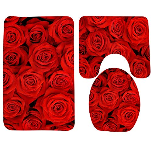 KEAINIDENI toiletmat 3 stks badmat set rode roos bloemen badkamer tapijt badkamer anti-slip douchemat en wc mat sets