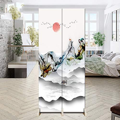 Cakunmik Faltbare Raumteiler, 2 Panels Wandschutz Screen Protector, Wohnzimmer Schlafzimmer Badezimmerteiler, schwarz,R