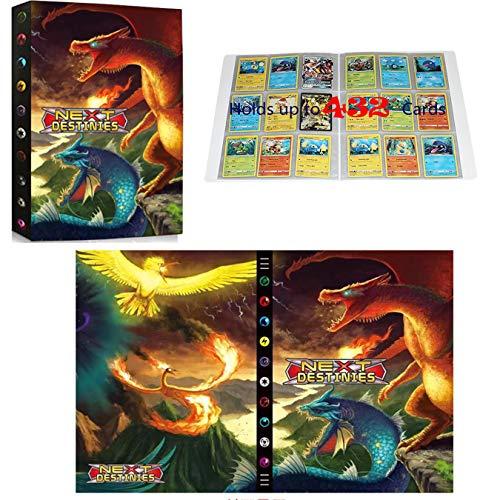 Classeur compatible avec cartes Pokemon, Album Compatible Avec Cartes Pokemon GX EX MEGA, Porte Album de cartes à collectionner, Peut contenir 432 cartes (Phoenix VS Dragon)
