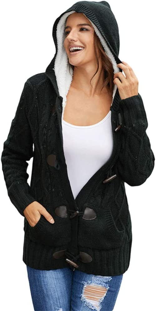 N / A Womens Hooded Cardigans Button Up Cable Knit Sweater Coat Outwear with Pockets