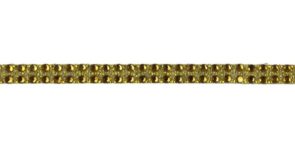 Belagio Enterprises 1/4-inch Iron-on Rhinestone Ribbon Trim 10 Yards, Gold