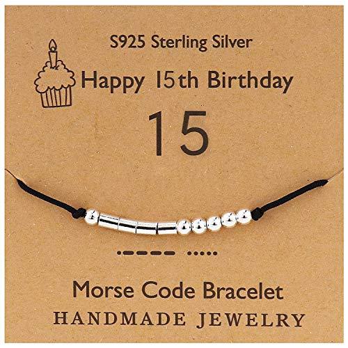 YooAi Morsecode Armband Alles Gute zum Geburtstag Geschenke für Mädchen Jungen Sterling Silber Armband Geburtstagsgeschenk Schmuck für 15 Jahre alte Perlen auf Seidenschnur 15