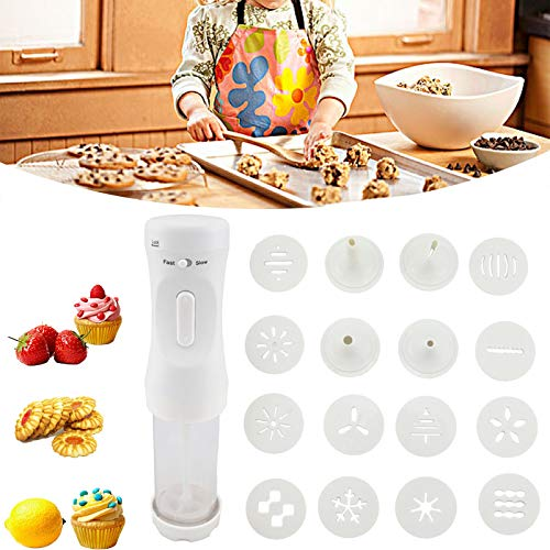 Cookie Press Gun Cookie Maker Kit Electric Cookie Decorating Tool With 12 Discs And 4 Icing Tips Perfect for DIY Cookie Maker and Cake Icing Decoration Best Tool for Kitchen Yellow