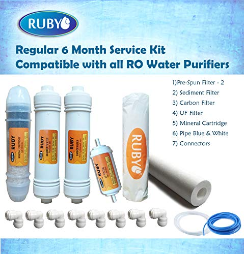 Ruby Regular RO series service Kit Compatible with all Domestic RO water purifiers Suitable for 6 months maintainence(Pre-Spun Filter,Sediment Filter,Carbon and UF Filter,Mineral Cartridge,Connectors)