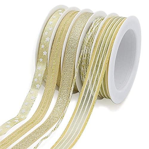 BeiLan 25M 5 Rotoli Nastri d'oro per Artigiani Regali Avvolgimento Decorazioni Fai da Te Craft Arti(5M/Rotolo)