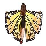 QinMM Frauen Schmetterlingsflügel Schal Schals, Damen Nymph Pixie Poncho Kostümzubehör (Orange)