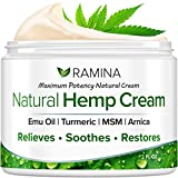 Ramina Natural Hemp Extract Pain Relief Cream - Made in USA - Potent Turmeric, MSM & Arnica - Relieves Inflammation, Muscle, Joint, Back, Knee, Nerves & Arthritis Pain - Non-GMO - 2 fl. oz