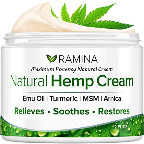 Ramina Natural Hemp Extract Pain Relief Cream - Made in USA - Potent Turmeric, MSM & Arnica -...