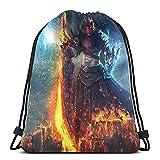Gamer Flame - Mochila deportiva con cordón, para hombre y mujer, ligera, grande, portátil, resistente y duradera, mochila de almacenamiento para la compra