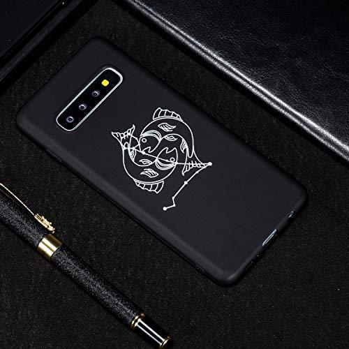Ysimee Handyhülle kompatibel mit Samsung Galaxy S10 Plus Hülle Silikon Schwarz Handyhülle Bumper Case Cover Dünn Weich rutschfest Stoßfest Kratzfeste Robust Bumper Schutzhülle - Fische