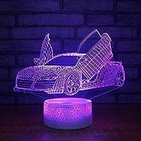 スーパーレーシングカー16色ランプ子供用3DビジュアルLEDナイトライトBerü hrenUSBテーブルランプベビースリーピングモーションライト