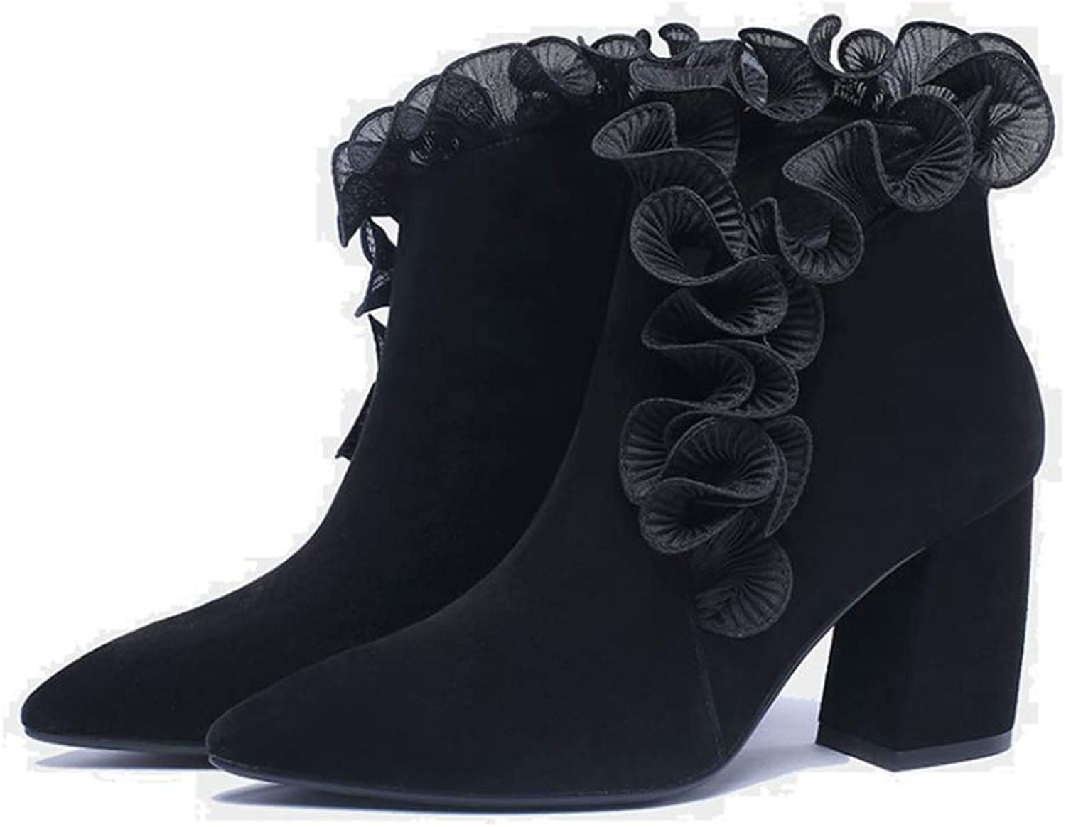 Ladies Booties, Round Head Thick Heel High End Low-Heel Knight Boots Women's Leather Fashion Boots (color   Black, Size   35)