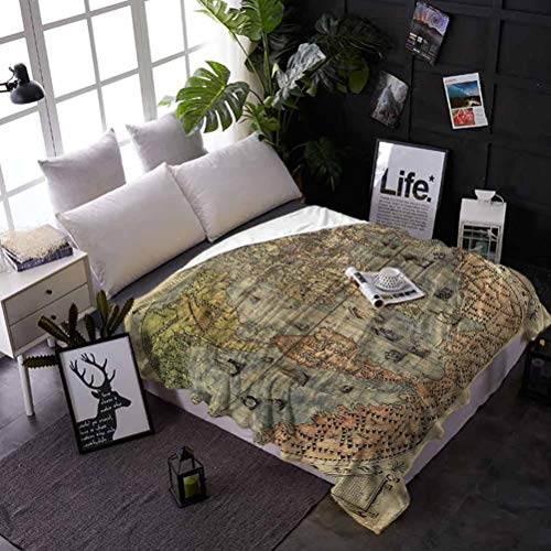 shirlyhome Soft Bed Blanket Throw Antique Soft and Warm Texture Ancient World Map History Blanket for Your Family 60x80 Inch