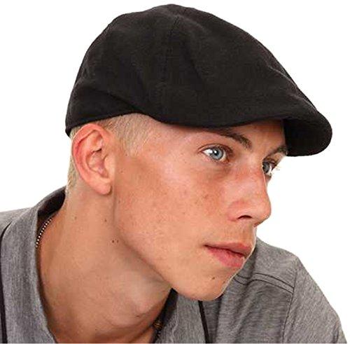 Boina para hombre o niño, negra, tapa plana con punta premoldeada Negro negro 59 cm