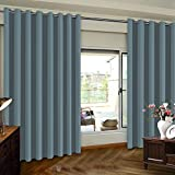 Patio Door Slider Curtains Extra Wide Patio Door Curtain - Sliding Door Insulated Blackout Curtains - Energy Smart & Noise Reducing Grommet Thermal Insulated Wide Width Drapes, One Panel, Stone Blue