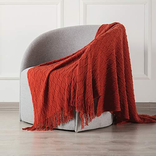 SPAOMY Throw Blanket, Knit Blanket with Tassels, Textured Cozy Lightweight Decorative Throw Blanket...