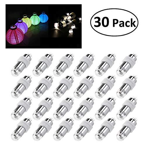 LEORX 30pz LED Bianco Palloncino per la Lanterna Luce Floreale Carta di Matrimonio Partito Decorazione (60)
