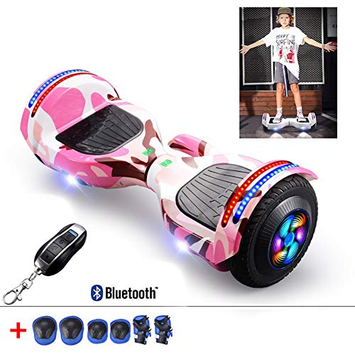 8 Inch Hoverboard Two Wheel Self Balancing Electric Scooter Added Portable Design with Bluetooth Speaker, LED Lights, Flashing Wheels, Best Gifts for Kids+ A Set of Protective Gear,Pink