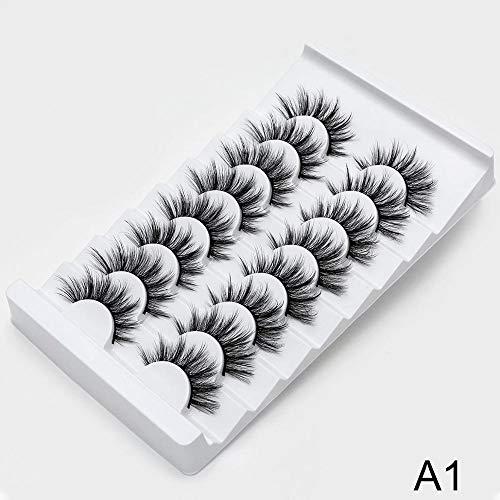 NO LOGO SSGFZ 8/20 Paires de Faux Cils naturels 3D de Faux Cils Maquillage Kit Lashes Extension Cils (Couleur : A1, Curl : CURL)