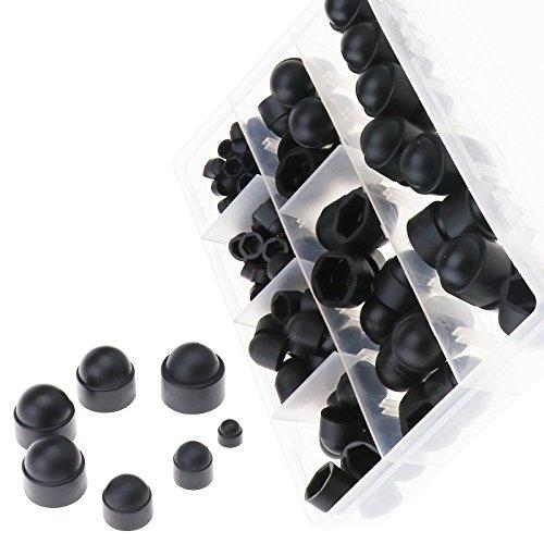 ENET 145 Sechskantmuttern und Bolzenabdeckungen, Schwarz, aus Kunststoff, M4 M5 M6 M8 M10 M12 Set