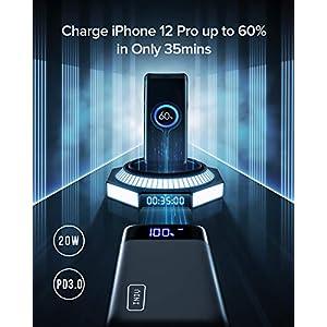 INIU Bateria Externa 20000mAh, 18W PD3.0 QC4.0 Carga Súper Rápida Power Bank, 3A Salidas Cargador Portatil con Pantalla LED & Linterna para iPhone Samsung Xiaomi Huawei iPad Tableta [2021 Versión]
